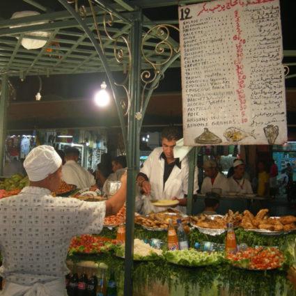 Food stalls in the Jemaa el Fna square