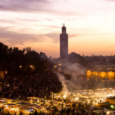 Panoramic view of Jemaa el Fna square at sunset